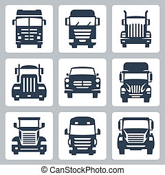 camion, icone, isolato, vettore, fronte, set:, vista