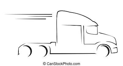 camion, illustration, symbole, vecteur