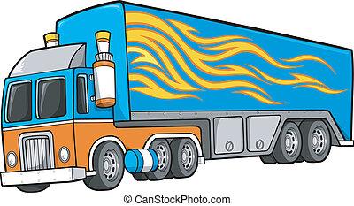 camion, illustration, vecteur