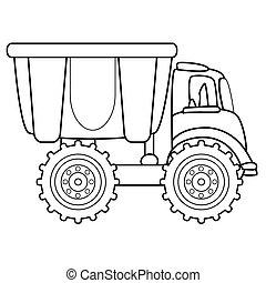 camion, illustrazione, discarica, vettore, toy.