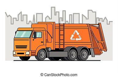 camion, immondizia, arancia, fondo., vettore, città, truck;