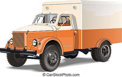 camion, isolé, retro