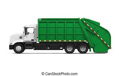 camion, isolato, immondizia
