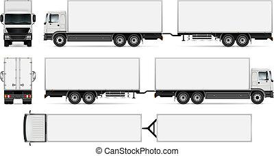 camion, isolato, roulotte
