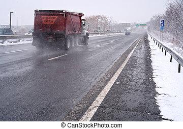 camion, jour, autoroute, neigeux