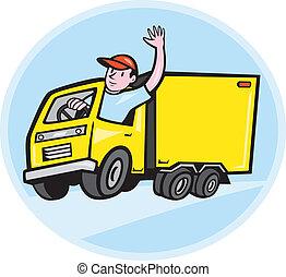 camion livraison, chauffeur, onduler, dessin animé