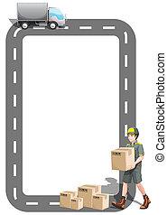 camion livraison, frontière, conception, homme