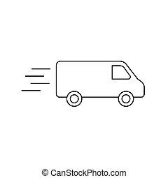 camion, livraison, isolé