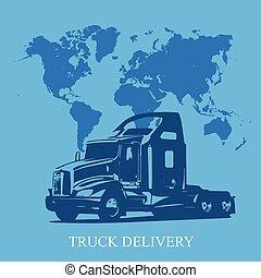 camion livraison, semi, cargaison