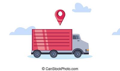 camion livraison, service, épingle, emplacement, animation
