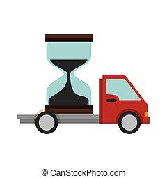 camion livraison, service, sablier