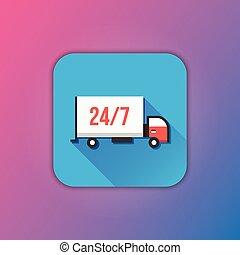camion livraison, vecteur, icône
