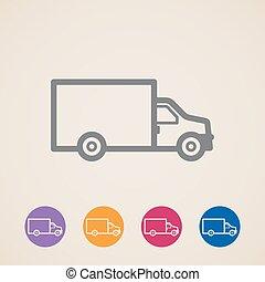 camion livraison, vecteur, icônes