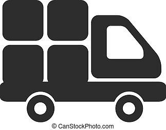 camion livraison, vecteur, noir, icône