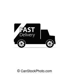 camion livraison, vecteur, noir, jeûne