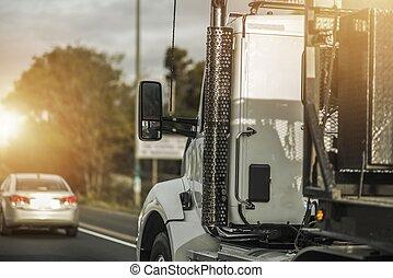 camion, métier, chauffeur, semi