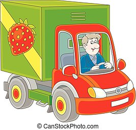 camion, marchandises, chauffeur, livrer
