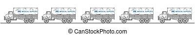 camion, monde médical, représentation, fournitures, convoi