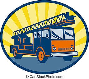 camion moteur feu, ou
