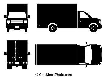 camion, noir, illustration, icônes, livraison, vecteur