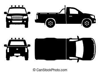 camion, noir, illustration, icônes, vecteur, pick-up