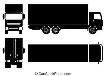 camion, noir, livraison, vecteur, icônes, illustration