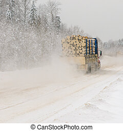 camion notation, hiver, route