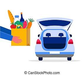 camion, nourriture, tracking., illustration, vecteur, respirateur, mask., livraison, entrepôt, homme, ordre, scooter, courrier, service, concept, ligne