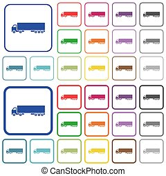 Camion color flat icons in rounded square frames. Thin and thick versions included.