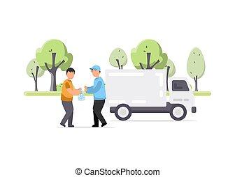 camion, ouvrier, illustration, déchets, créatif