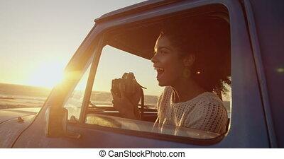 camion, pick-up, appareil-photo numérique, photo, plage, femme, prendre, 4k