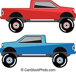 camion, pick-up, soulevé