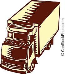 camion, réfrigéré, woodcut