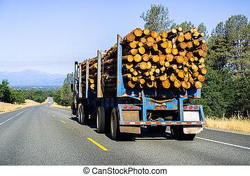 camion, redding, californie, journaux bord, transport