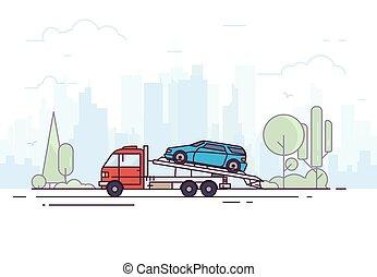 camion, remorquage, service