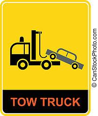 camion, -, remorquage, signe