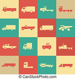 camion, retro, transport, icônes