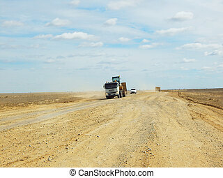 camion, road., décharge, terre