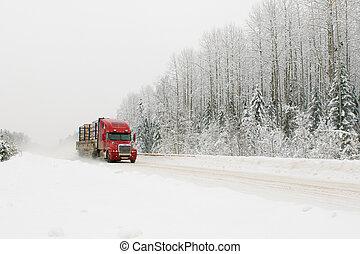 camion rosso, su, inverno, strada