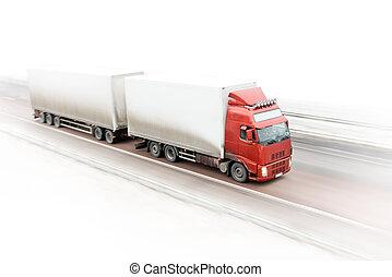 camion, rouges, autoroute