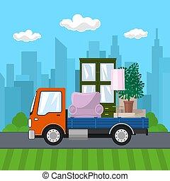 camion, route, meubles