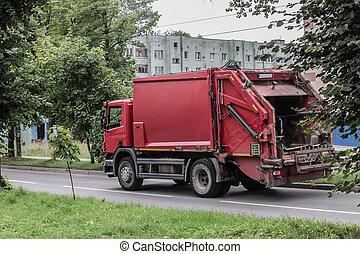 camion, rue, en mouvement, ville, déchets