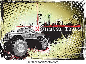 camion, sale, monstre