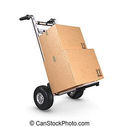 camion, scatole, inclinato, due, mano