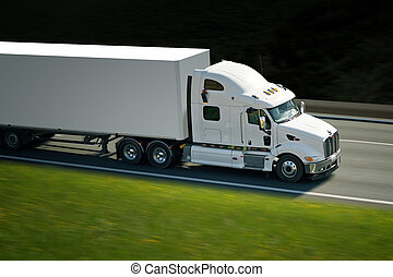 camion, semi, route