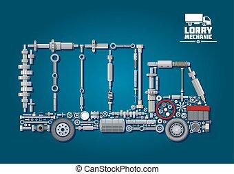 camion, silhouette, con, meccanico, parti