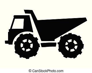 camion, silhouette, décharge