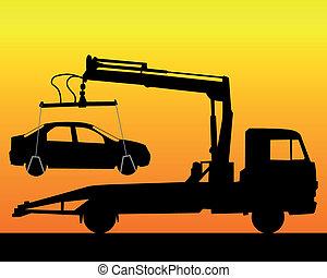 camion, silhouette, remorquage, noir