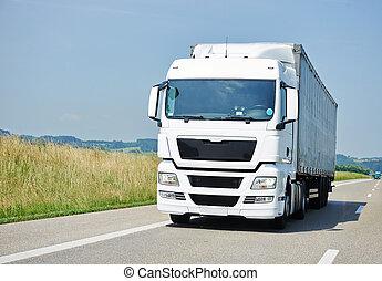 camion, spostamento, con, roulotte, su, corsia