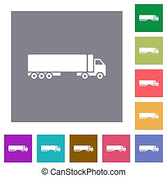 Camion flat icons on simple color square backgrounds